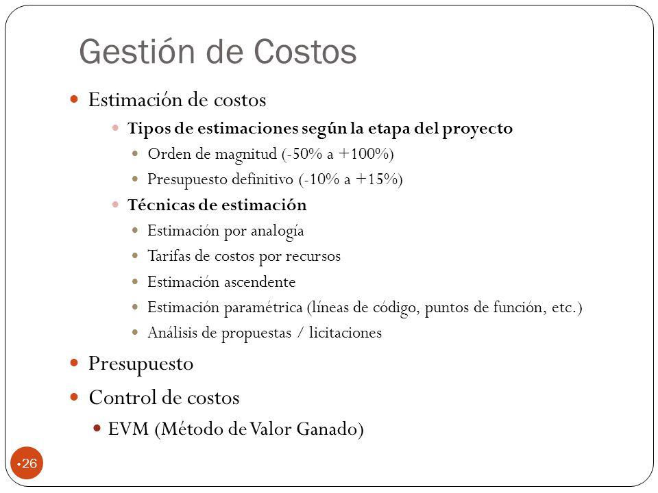 Gestión de Costos Estimación de costos Presupuesto Control de costos