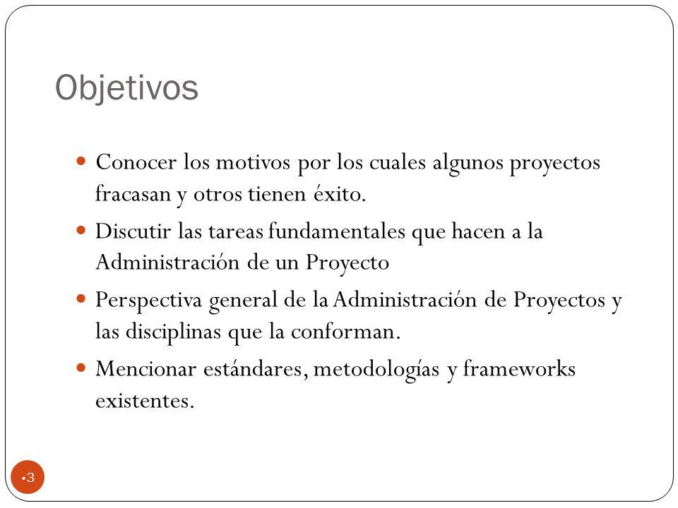 Objetivos Conocer los motivos por los cuales algunos proyectos fracasan y otros tienen éxito.