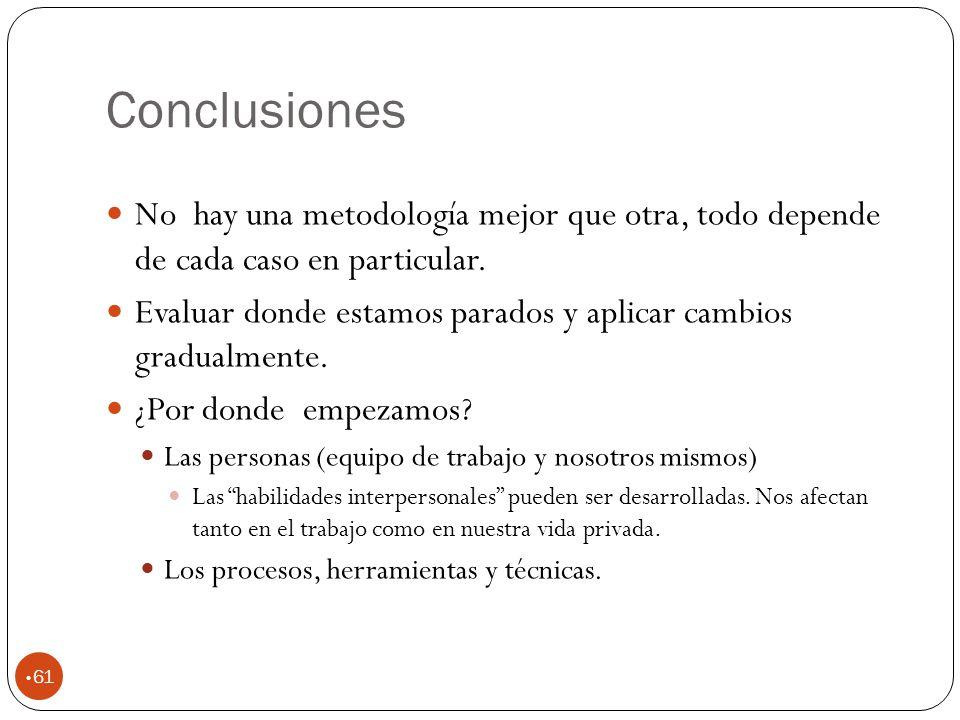 Conclusiones No hay una metodología mejor que otra, todo depende de cada caso en particular.