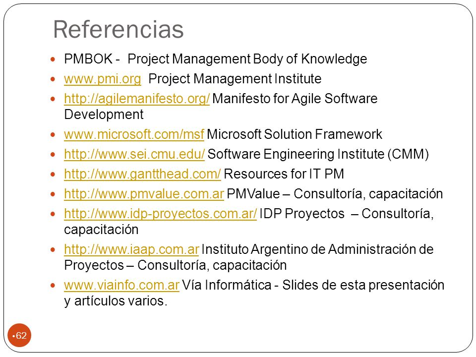 Referencias PMBOK - Project Management Body of Knowledge
