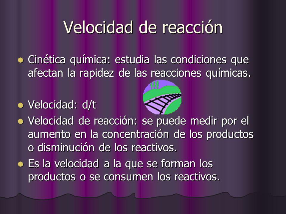 Velocidad de reacción Cinética química: estudia las condiciones que afectan la rapidez de las reacciones químicas.