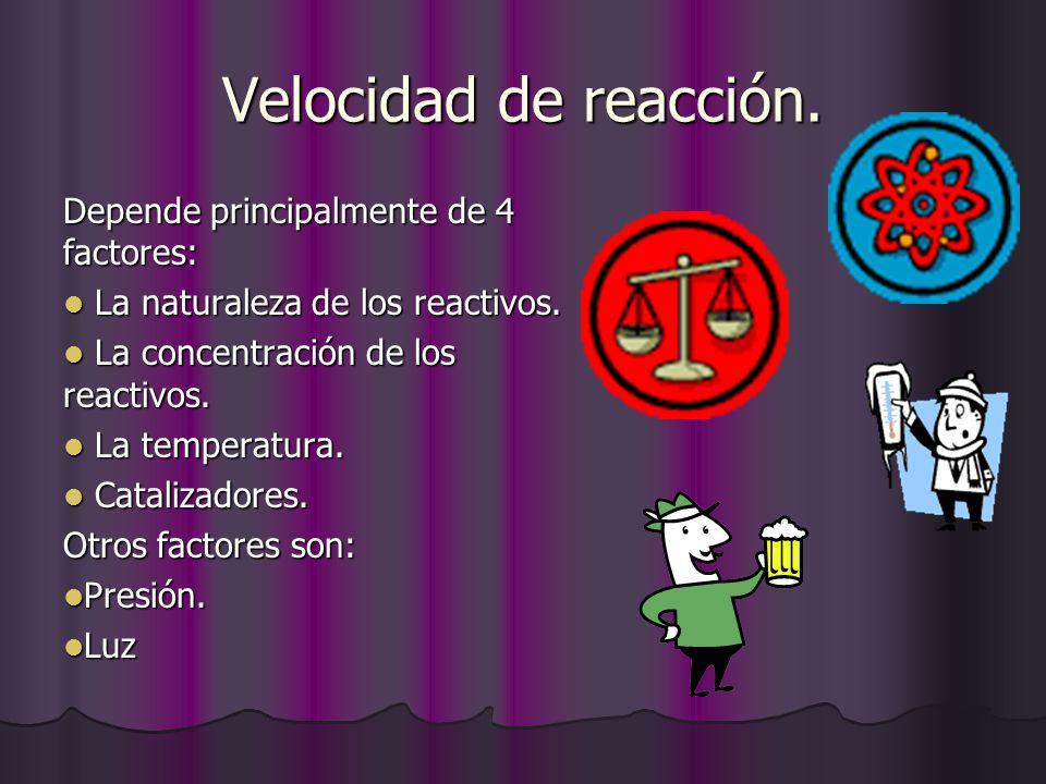 Velocidad de reacción. Depende principalmente de 4 factores: