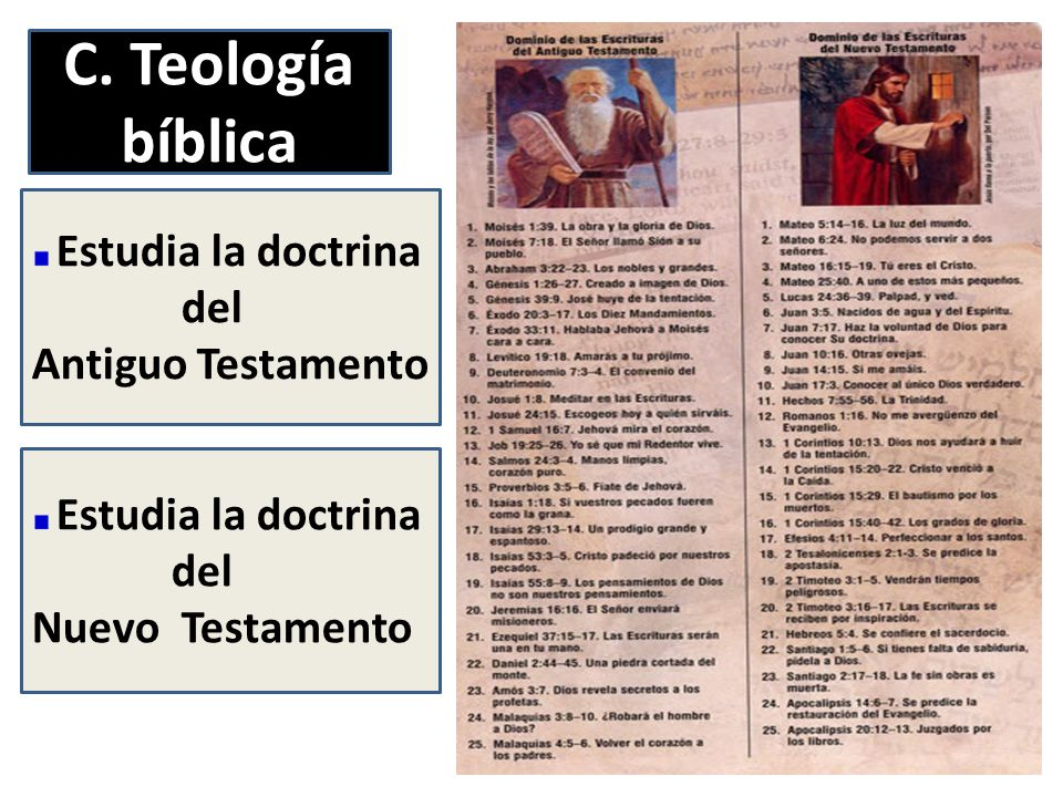 C. Teología bíblica del Antiguo Testamento del Nuevo Testamento