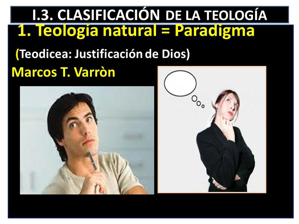 I.3. CLASIFICACIÓN DE LA TEOLOGÍA