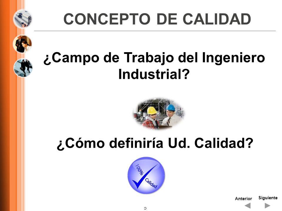 CONCEPTO DE CALIDAD ¿Campo de Trabajo del Ingeniero Industrial