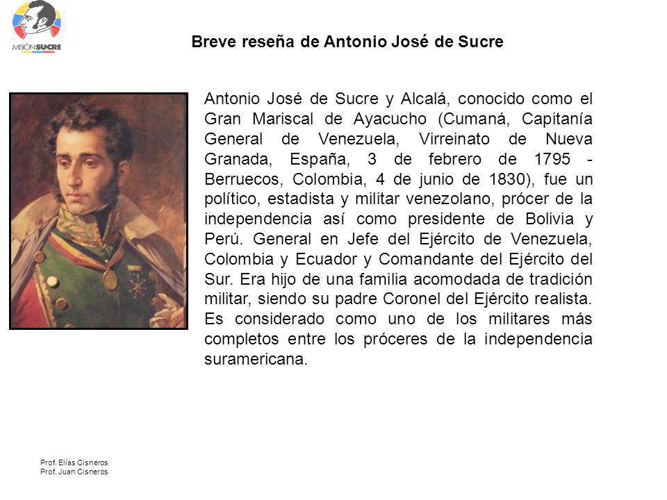 Breve reseña de Antonio José de Sucre