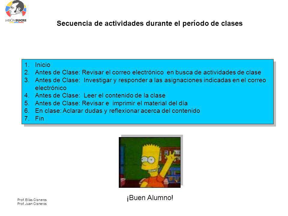 Secuencia de actividades durante el período de clases