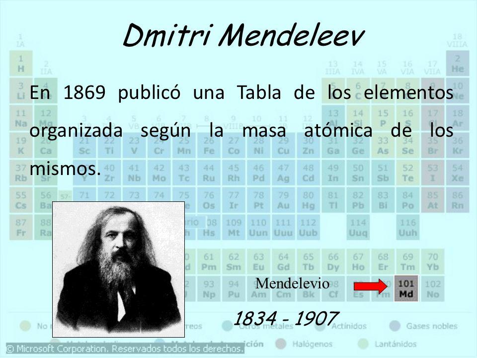 Dmitri MendeleevEn 1869 publicó una Tabla de los elementos organizada según la masa atómica de los mismos.