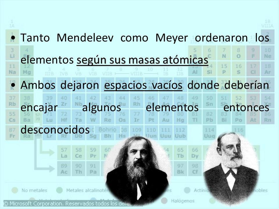 Tanto Mendeleev como Meyer ordenaron los elementos según sus masas atómicas