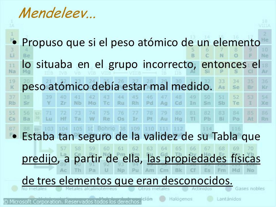 Mendeleev...Propuso que si el peso atómico de un elemento lo situaba en el grupo incorrecto, entonces el peso atómico debía estar mal medido.