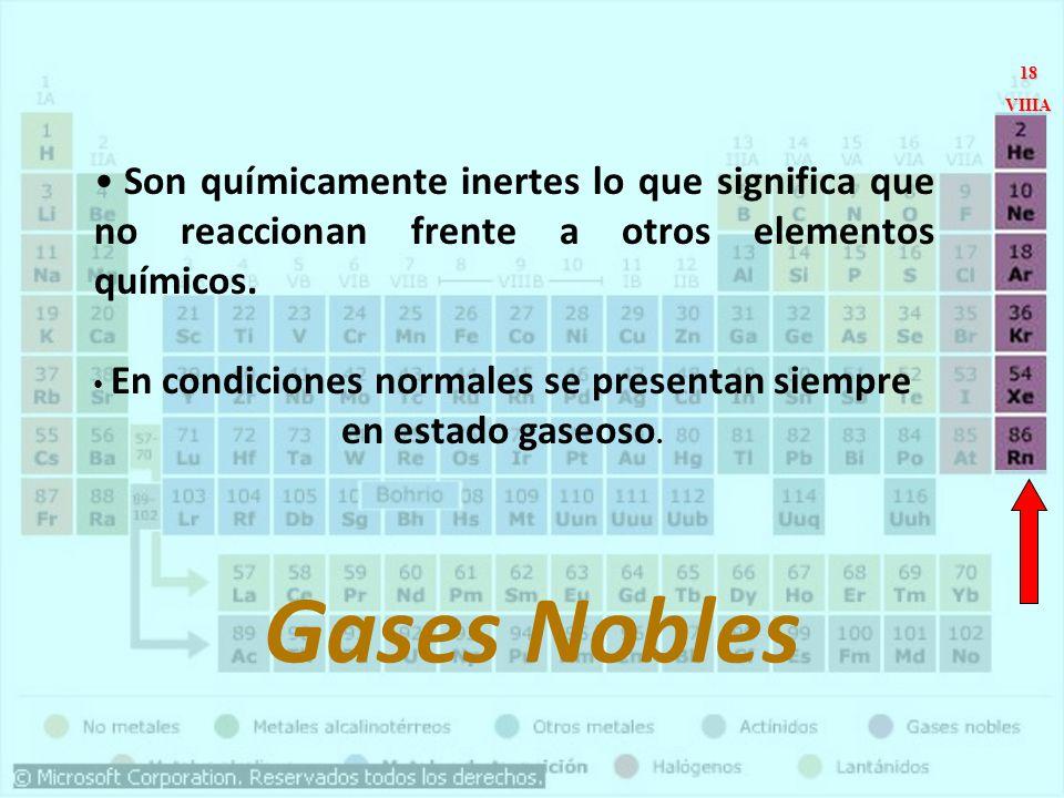 En condiciones normales se presentan siempre en estado gaseoso.