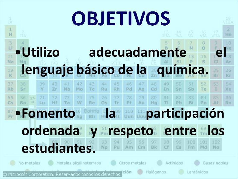 OBJETIVOS Utilizo adecuadamente el lenguaje básico de la química.