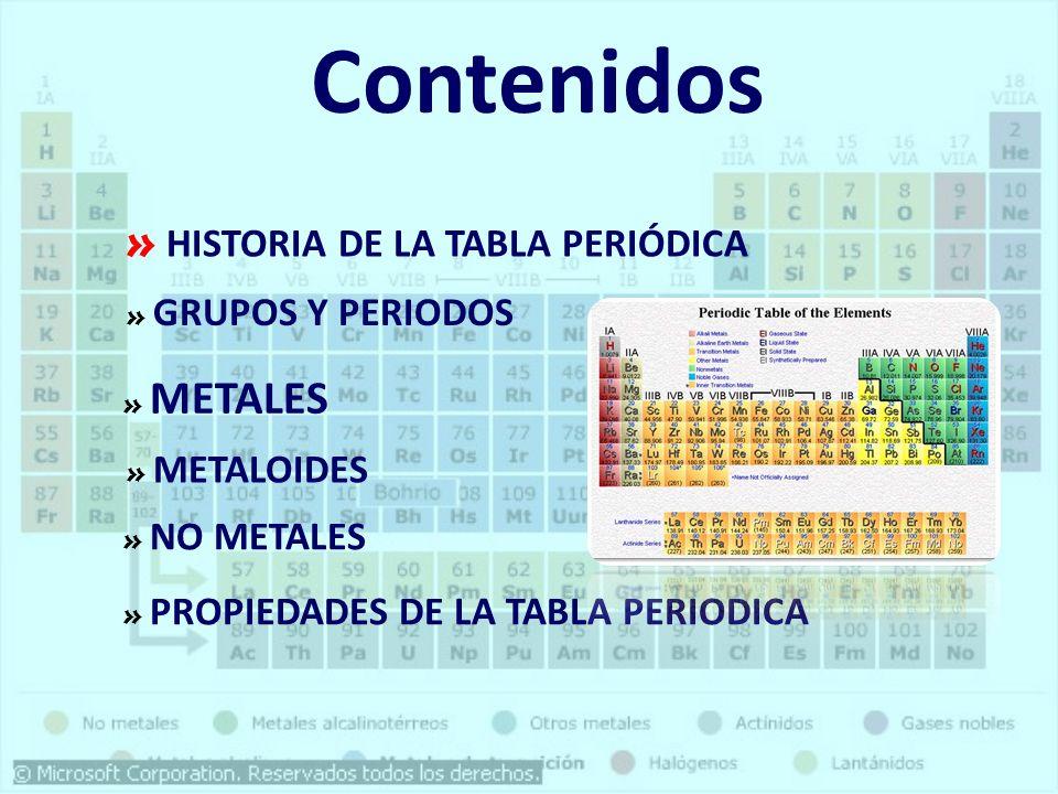 Contenidos HISTORIA DE LA TABLA PERIÓDICA GRUPOS Y PERIODOS METALES