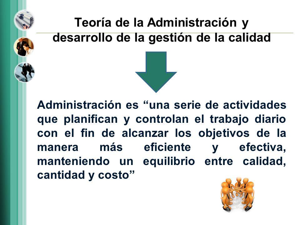 Teoría de la Administración y desarrollo de la gestión de la calidad