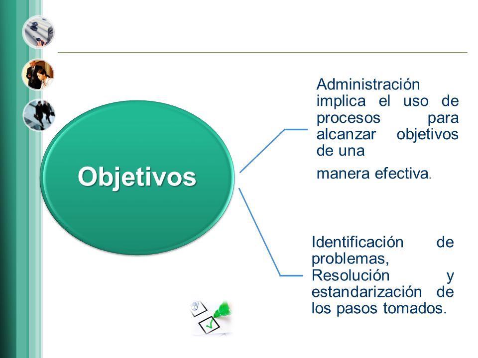 Objetivos Administración implica el uso de procesos para alcanzar objetivos de una. manera efectiva.
