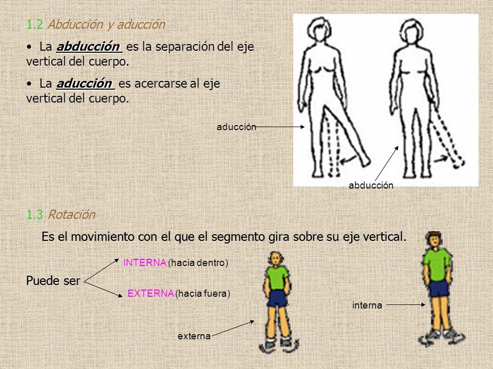 La abducción es la separación del eje vertical del cuerpo.