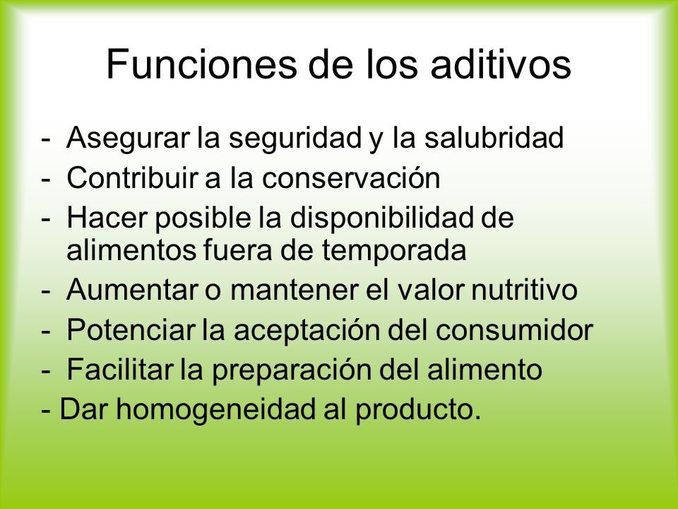 Funciones de los aditivos