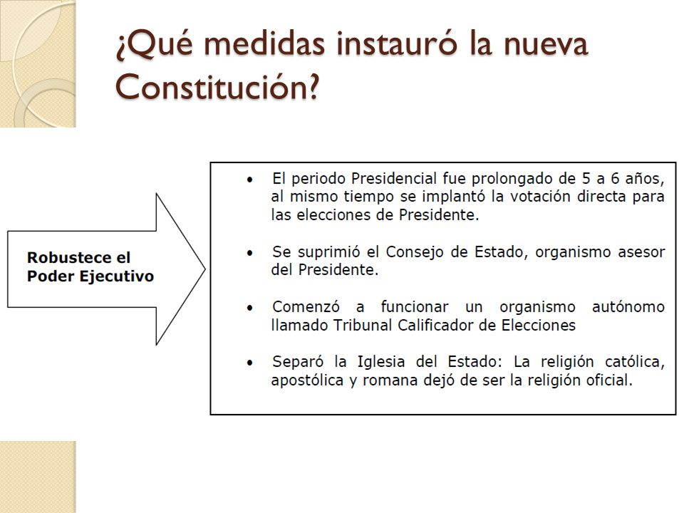 ¿Qué medidas instauró la nueva Constitución