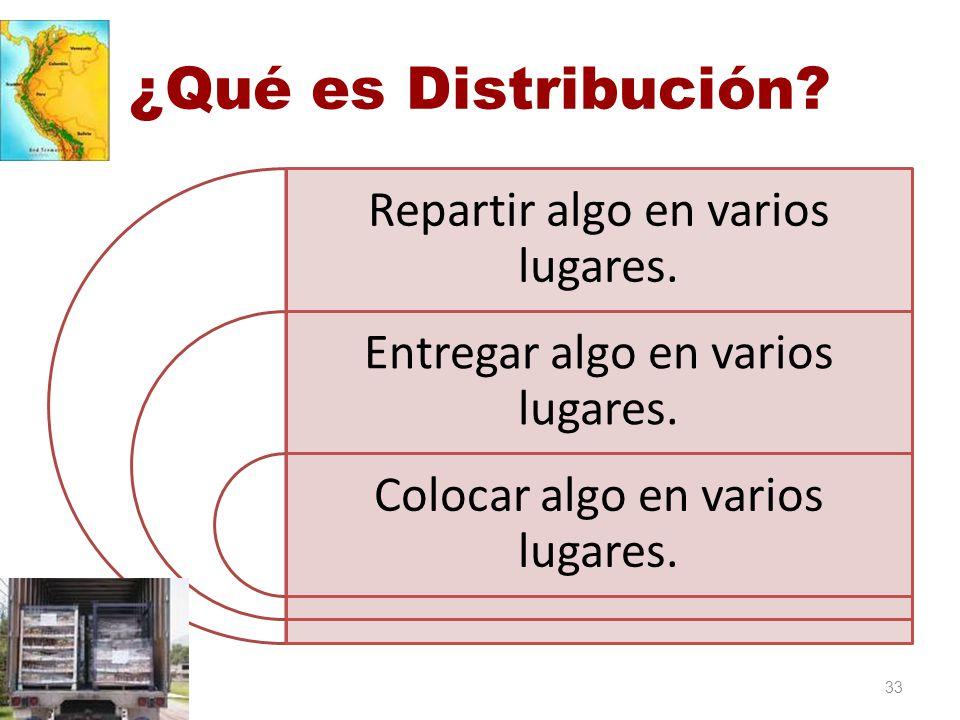 ¿Qué es Distribución Repartir algo en varios lugares.