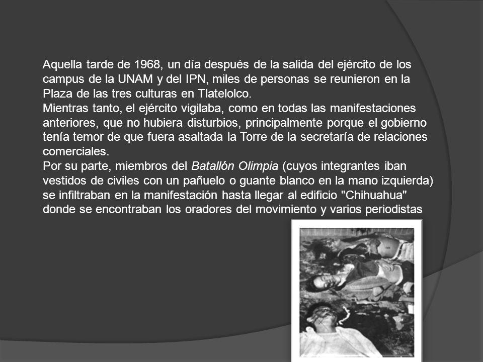 Aquella tarde de 1968, un día después de la salida del ejército de los campus de la UNAM y del IPN, miles de personas se reunieron en la Plaza de las tres culturas en Tlatelolco.