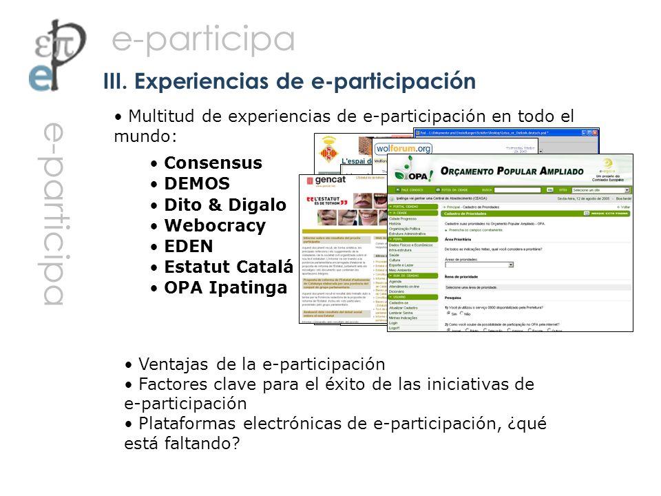 III. Experiencias de e-participación