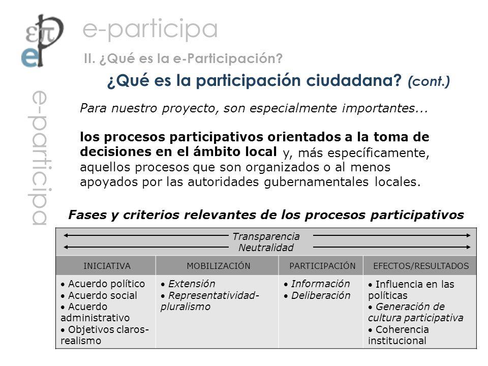 ¿Qué es la participación ciudadana (cont.)