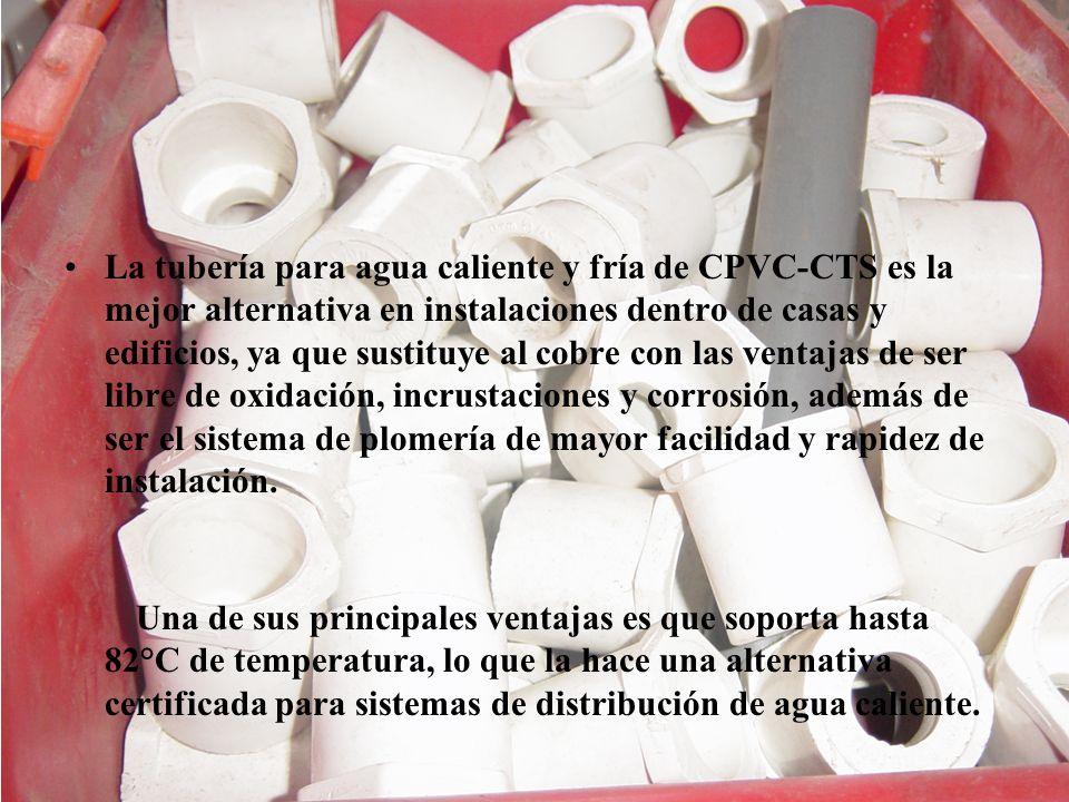 La tubería para agua caliente y fría de CPVC-CTS es la mejor alternativa en instalaciones dentro de casas y edificios, ya que sustituye al cobre con las ventajas de ser libre de oxidación, incrustaciones y corrosión, además de ser el sistema de plomería de mayor facilidad y rapidez de instalación.