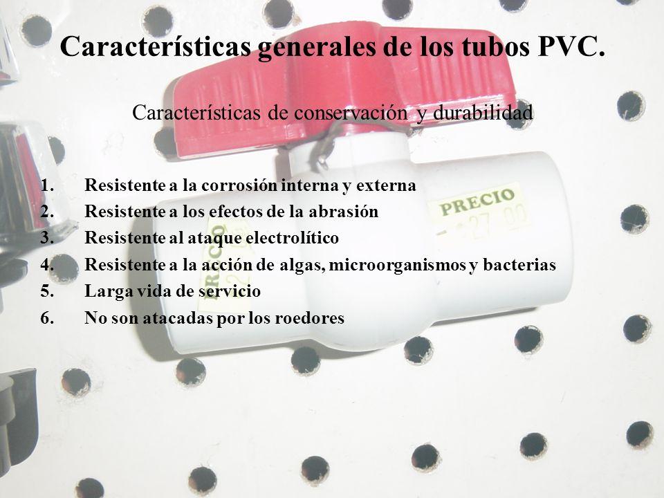 Características generales de los tubos PVC