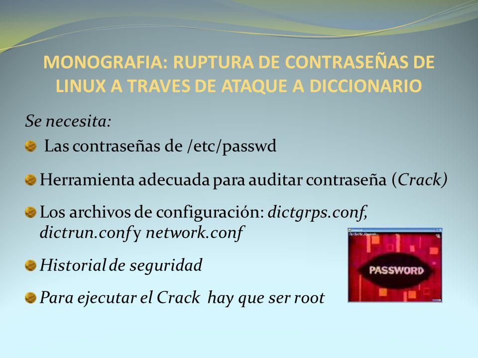 MONOGRAFIA: RUPTURA DE CONTRASEÑAS DE LINUX A TRAVES DE ATAQUE A DICCIONARIO