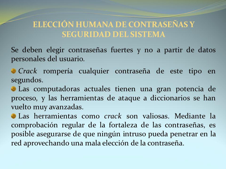 ELECCIÓN HUMANA DE CONTRASEÑAS Y SEGURIDAD DEL SISTEMA