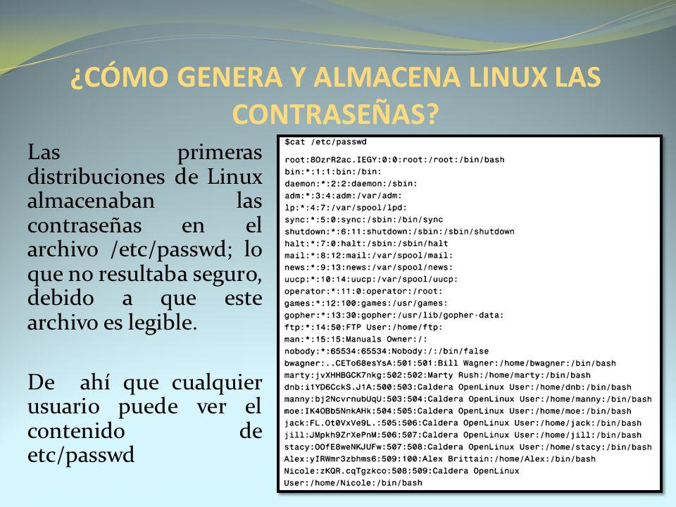 ¿CÓMO GENERA Y ALMACENA LINUX LAS CONTRASEÑAS