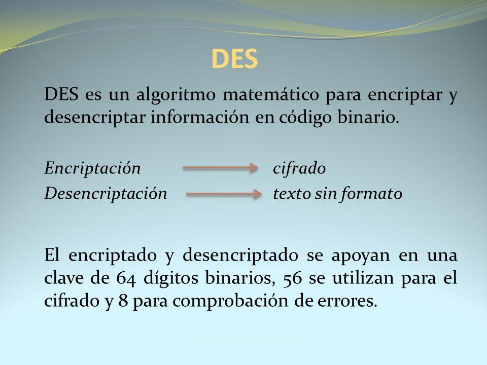 DES DES es un algoritmo matemático para encriptar y desencriptar información en código binario. Encriptación cifrado.