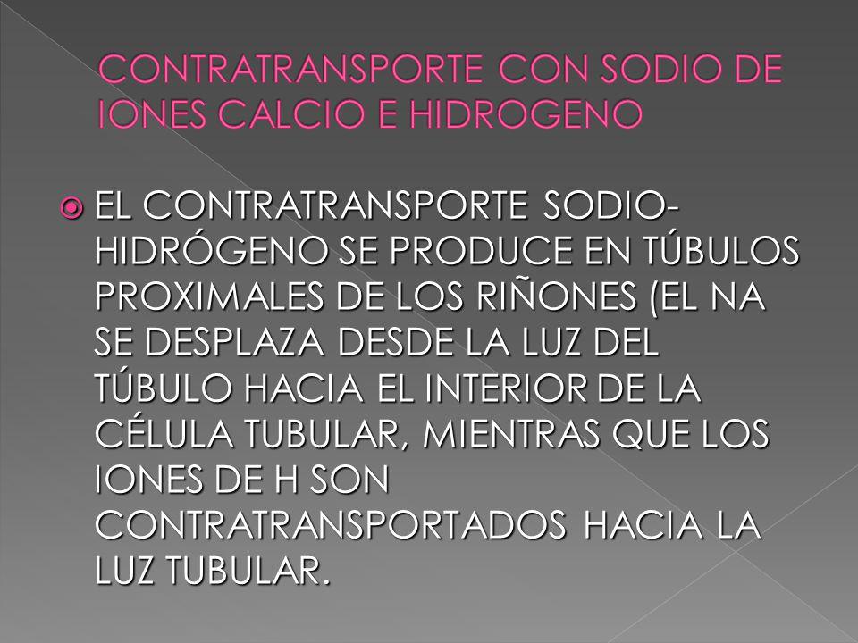 CONTRATRANSPORTE CON SODIO DE IONES CALCIO E HIDROGENO