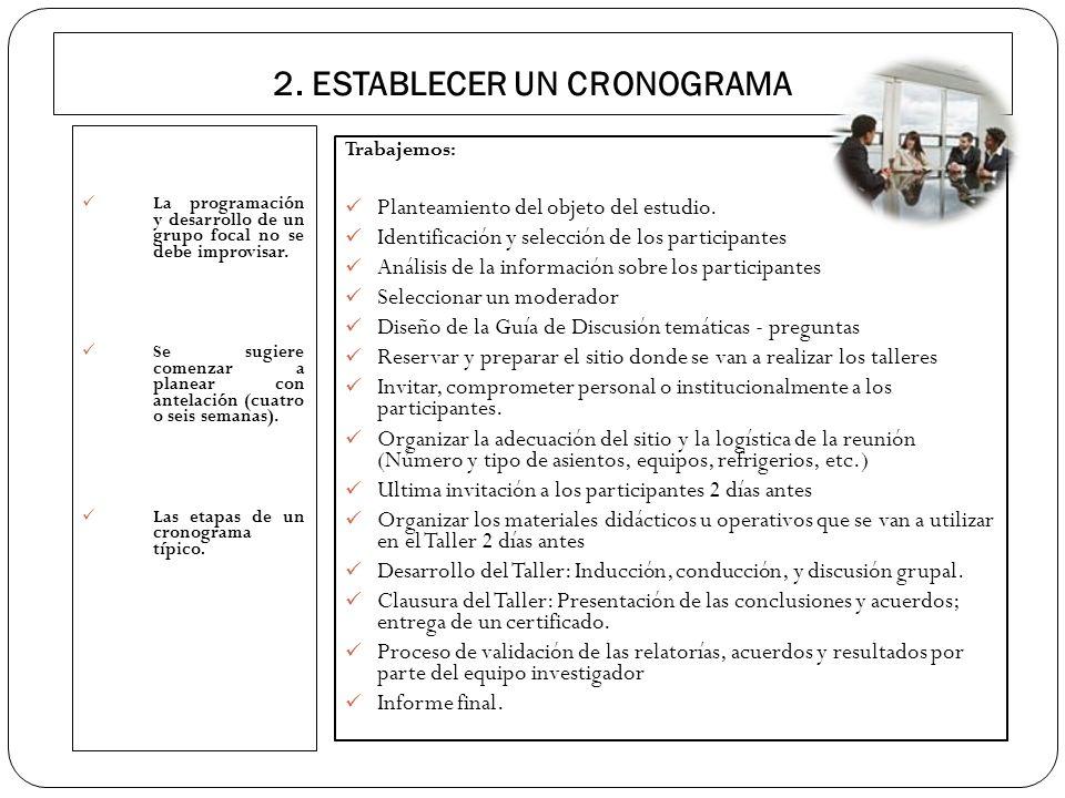 2. ESTABLECER UN CRONOGRAMA