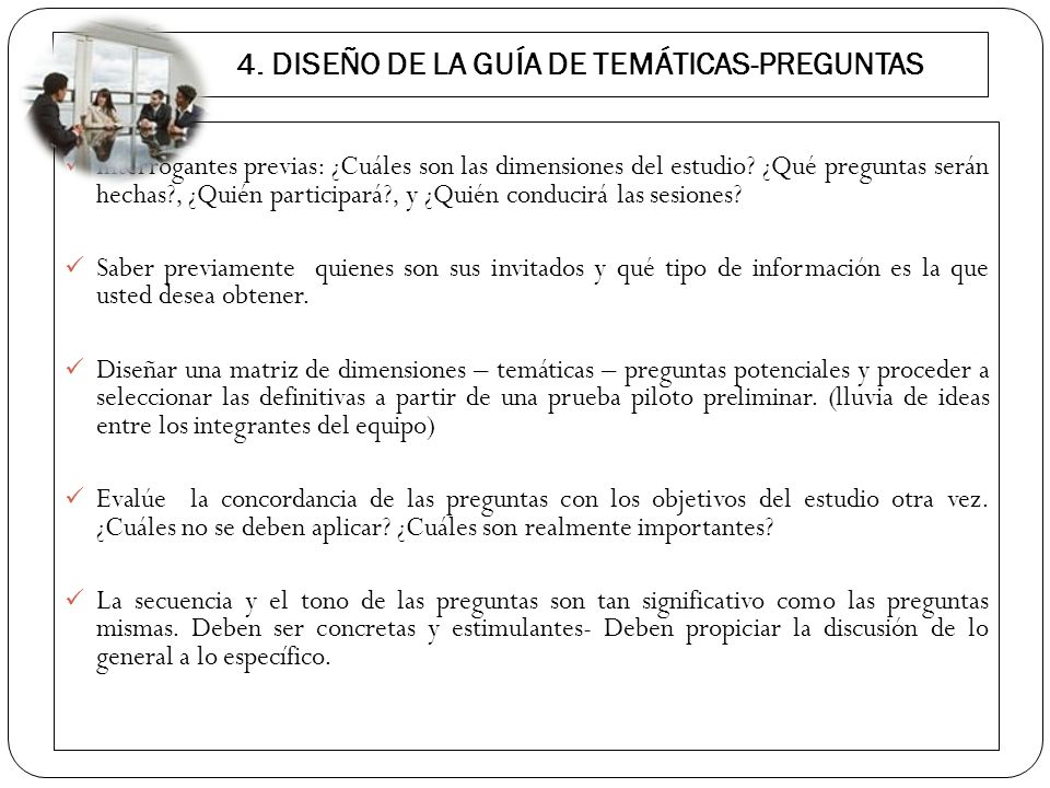 4. DISEÑO DE LA GUÍA DE TEMÁTICAS-PREGUNTAS
