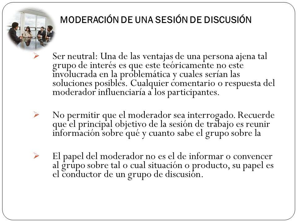 . MODERACIÓN DE UNA SESIÓN DE DISCUSIÓN