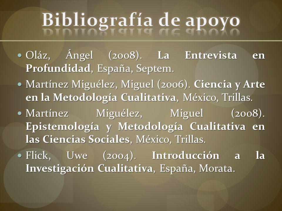 Bibliografía de apoyo Oláz, Ángel (2008). La Entrevista en Profundidad, España, Septem.