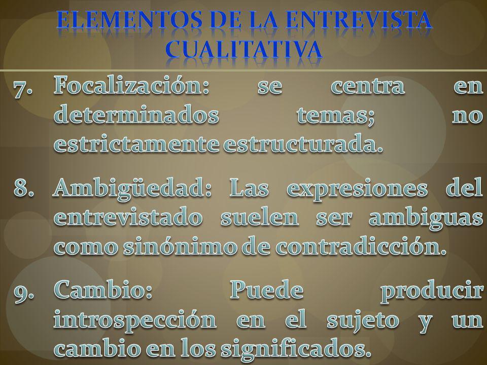 ELEMENTOS DE LA ENTREVISTA CUALITATIVA