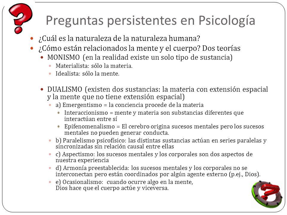 Preguntas persistentes en Psicología