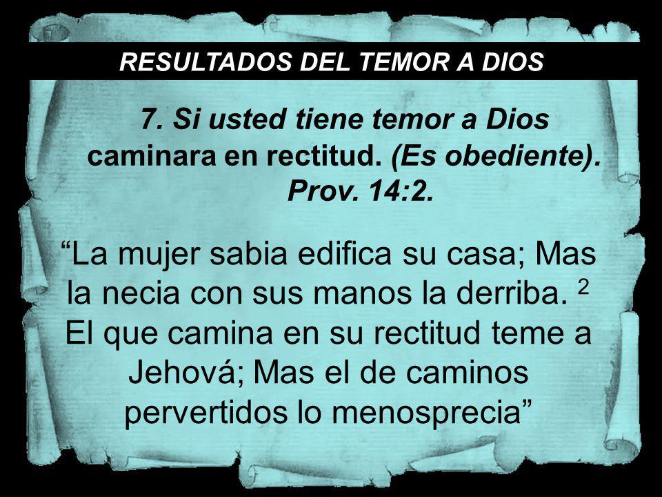RESULTADOS DEL TEMOR A DIOS
