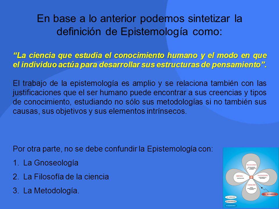 En base a lo anterior podemos sintetizar la definición de Epistemología como: