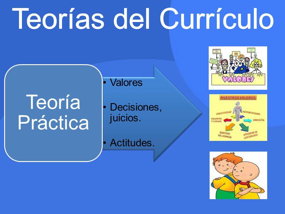 Teorías del Currículo Teoría Práctica Valores Decisiones, juicios.