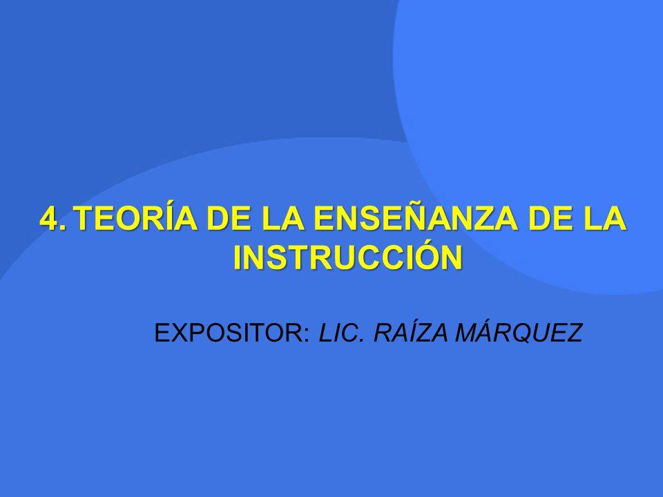 TEORÍA DE LA ENSEÑANZA DE LA INSTRUCCIÓN