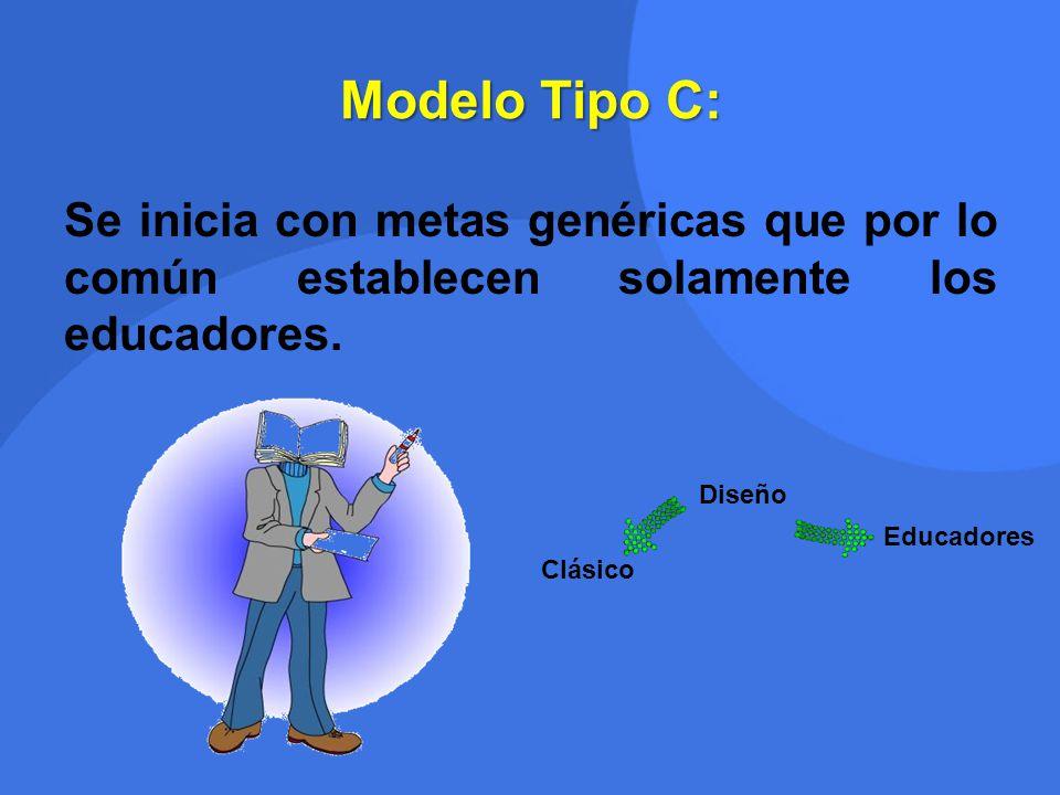 Modelo Tipo C: Se inicia con metas genéricas que por lo común establecen solamente los educadores. Diseño.