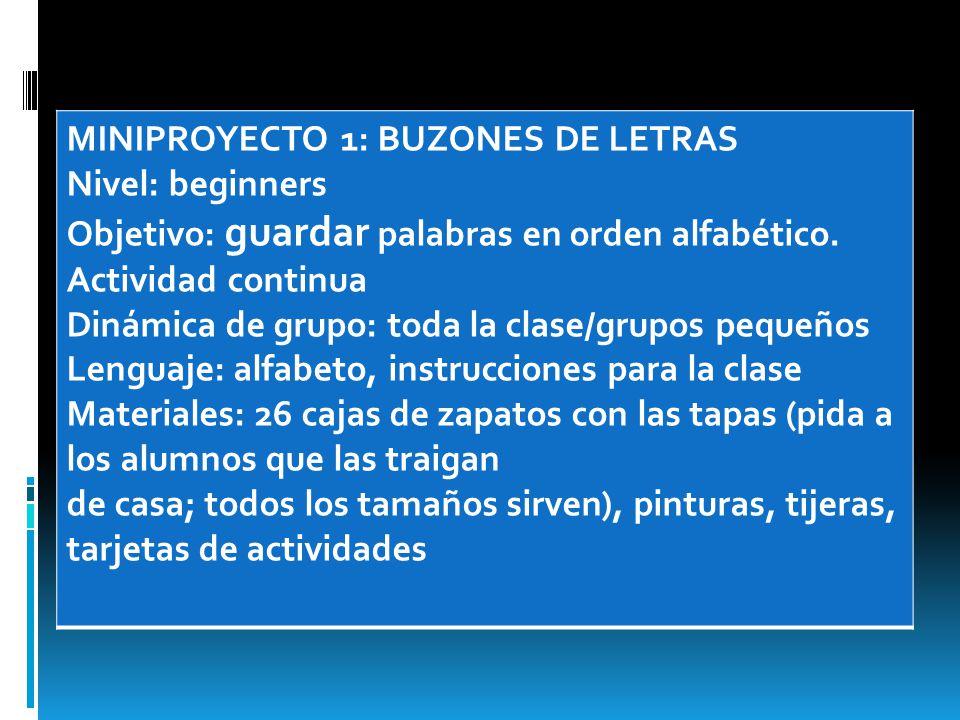MINIPROYECTO 1: BUZONES DE LETRAS