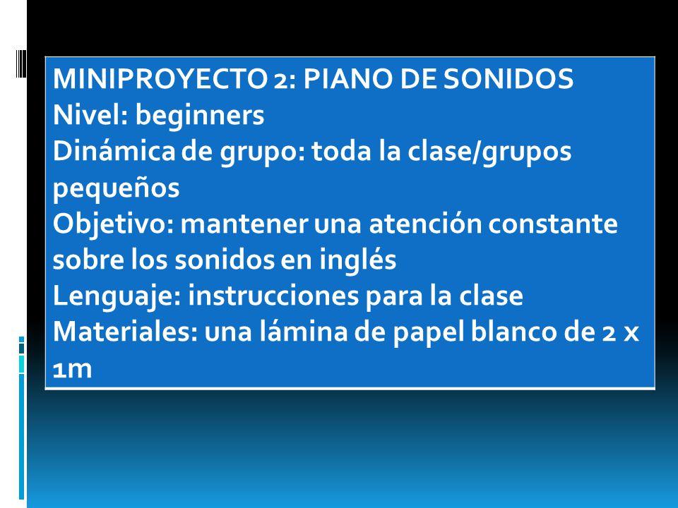 MINIPROYECTO 2: PIANO DE SONIDOS