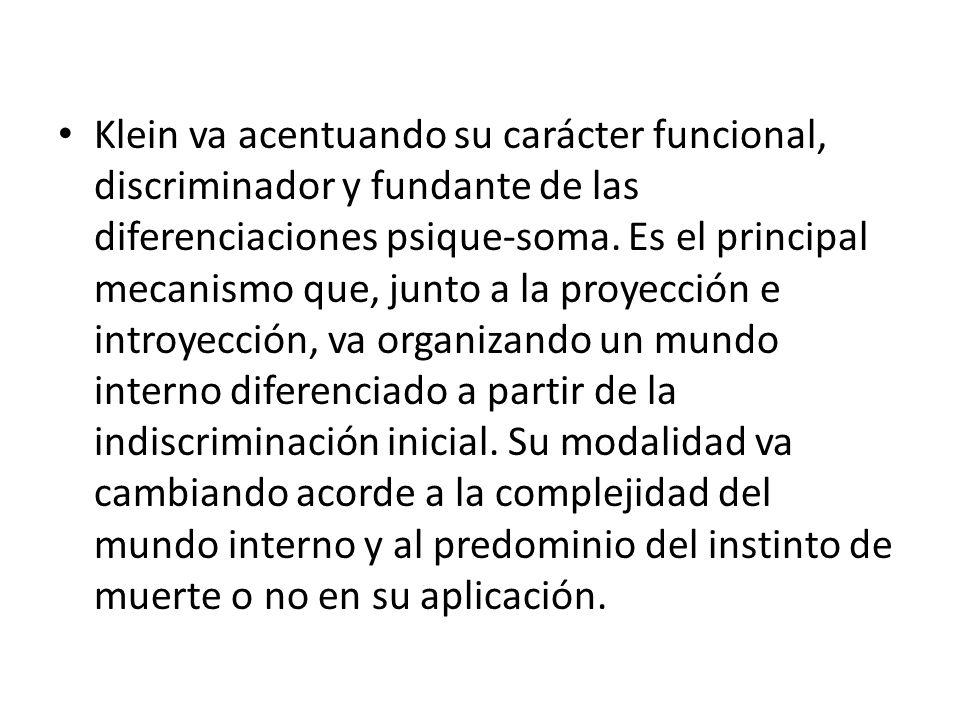 Klein va acentuando su carácter funcional, discriminador y fundante de las diferenciaciones psique-soma.