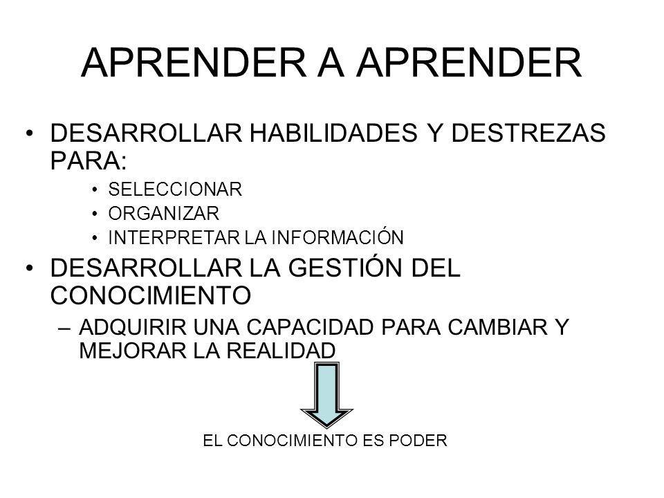 APRENDER A APRENDER DESARROLLAR HABILIDADES Y DESTREZAS PARA: