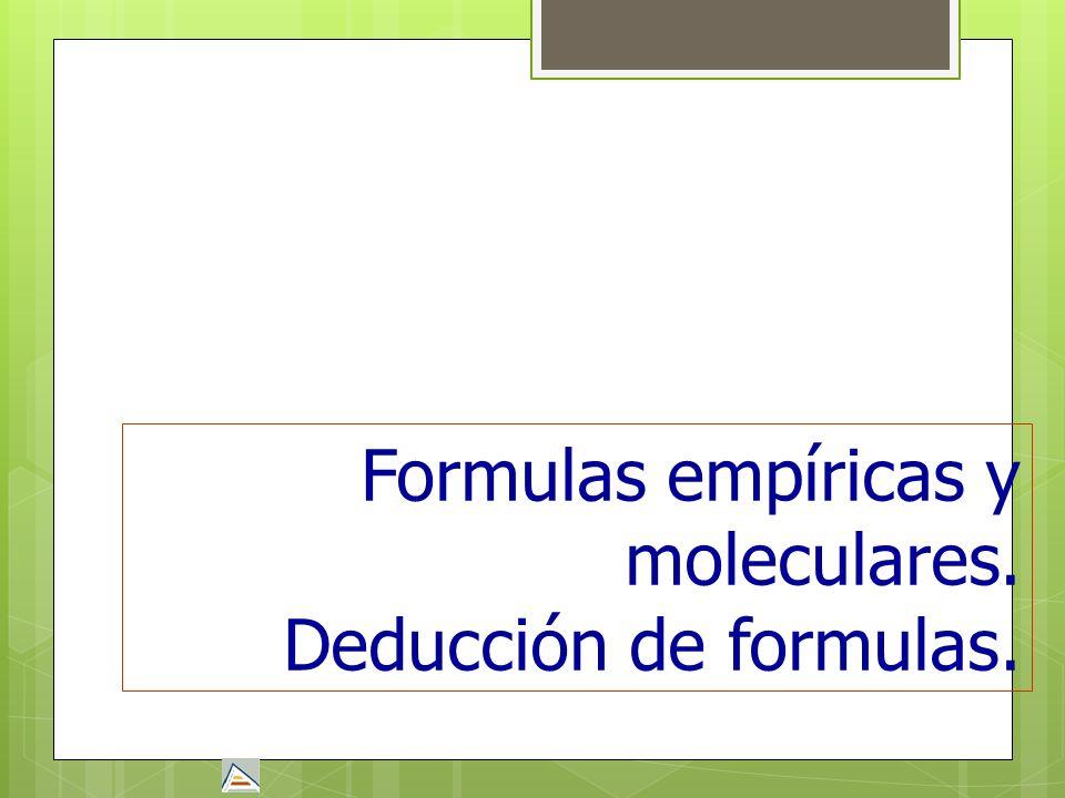 Formulas empíricas y moleculares.