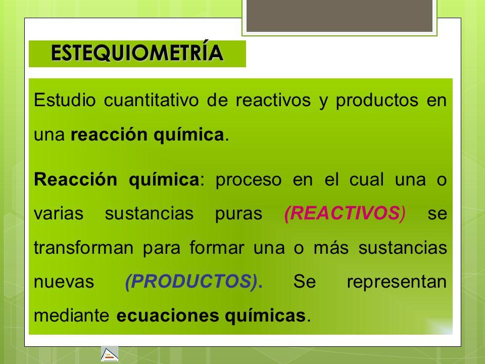 ESTEQUIOMETRÍAEstudio cuantitativo de reactivos y productos en una reacción química.